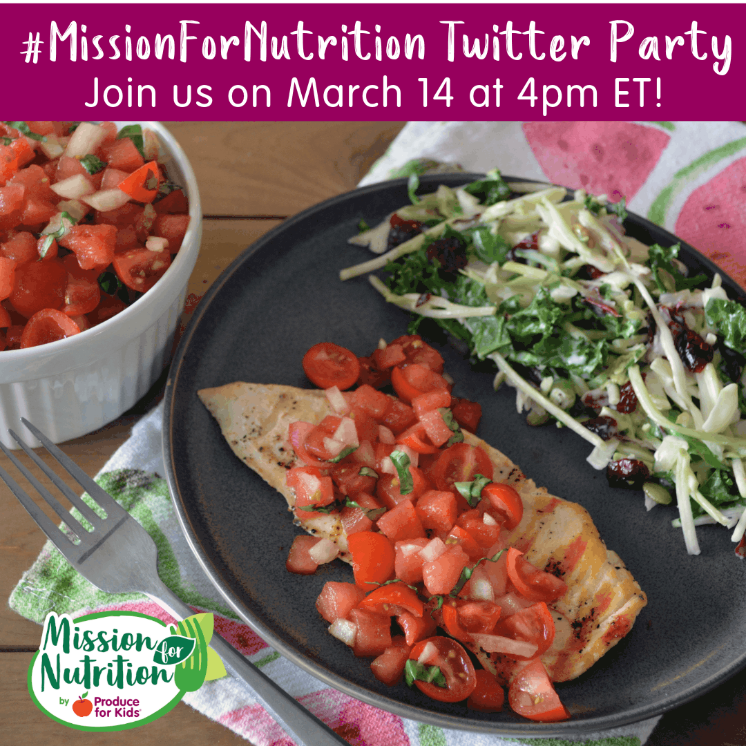 image of food on plate for Produce for kids twitter party ad