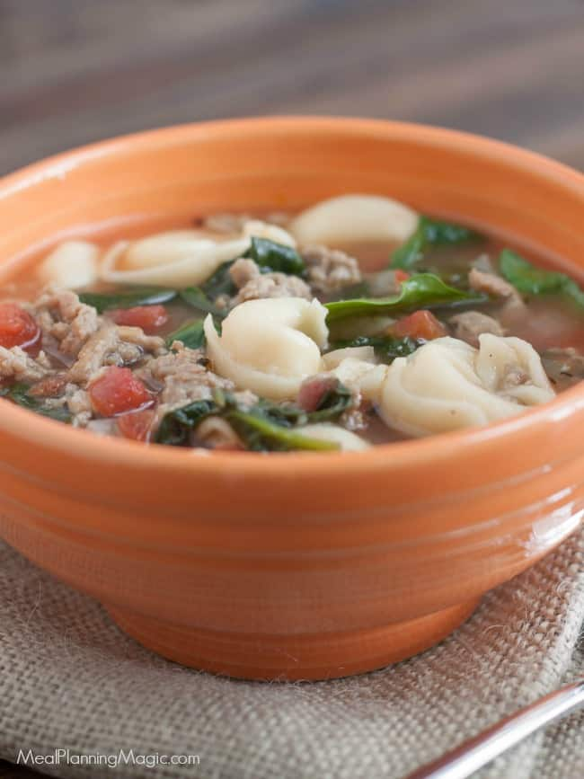 extra close up image of Rustic Italian Sausage Tortellini Soup