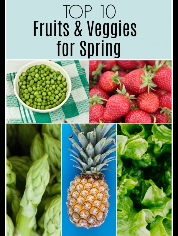 collage image of Top Tens Fruits and Veggies for Spring