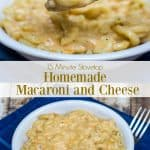 Collage image of homemade mac and cheese in white bowls with text overlay in middle.