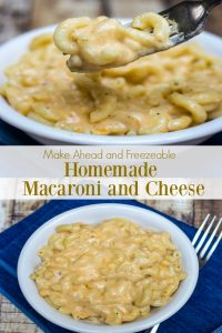 Collage image of homemade macaroni and cheese in white bowls on blue napkin with text overlay in middle of image.