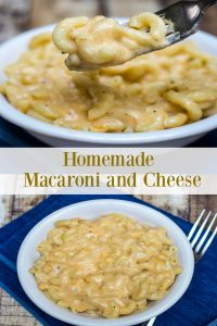 Collage image of homemade macaroni and cheese in white bowls with text overlay in middle of image.
