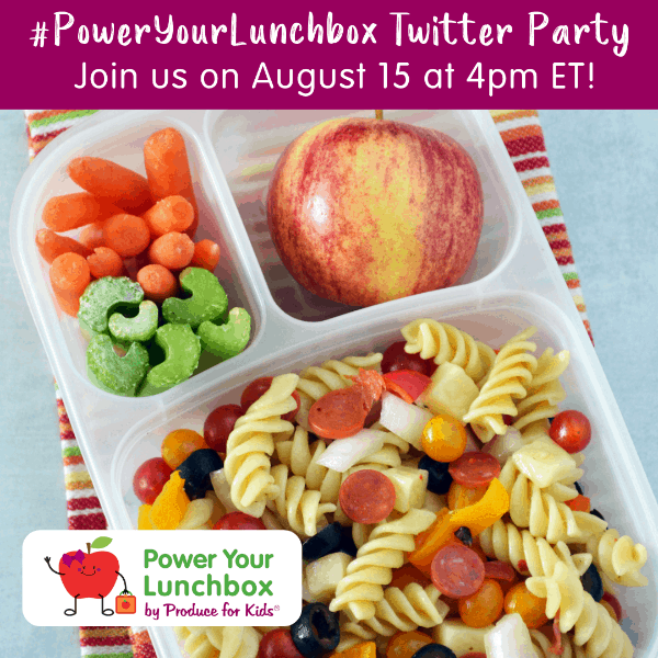 Image of pasta salad, carrots and celery and apple in lunch container with Power Your Lunchbox text at top