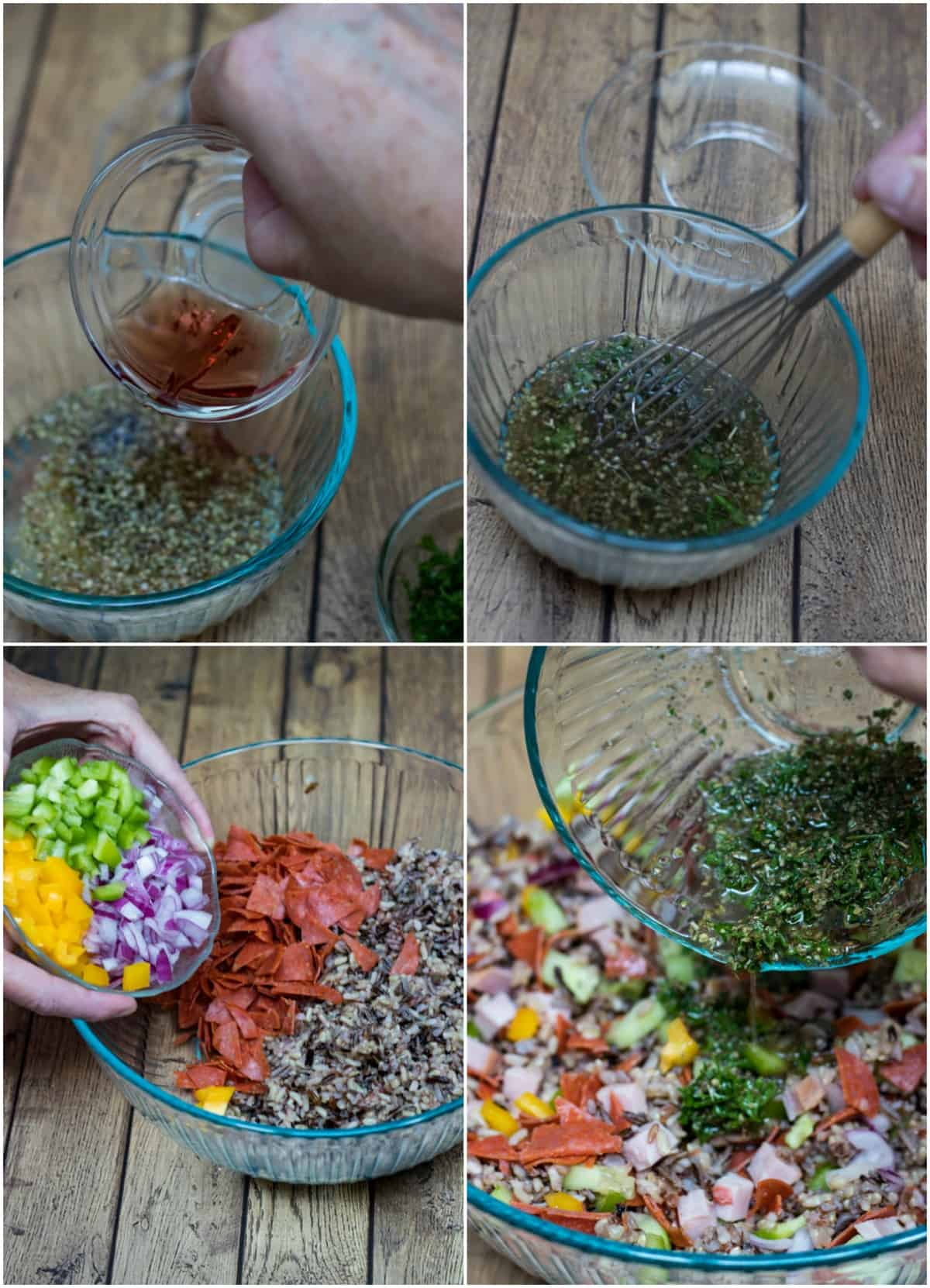 Collage image of assembly process for Italian Vegetable Wild Rice Salad