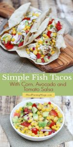 Collage image of fish tacos and small bowl of salsa with avocado, corn and tomatoes
