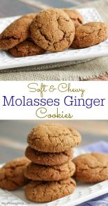 Collage image of soft and chewy molasses cookies with text overlay in between images
