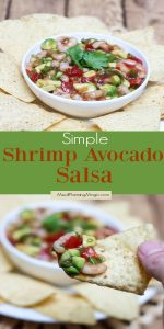Collage image with Shrimp Avocado in a bowl and also on a chip with text overlay in between photos.
