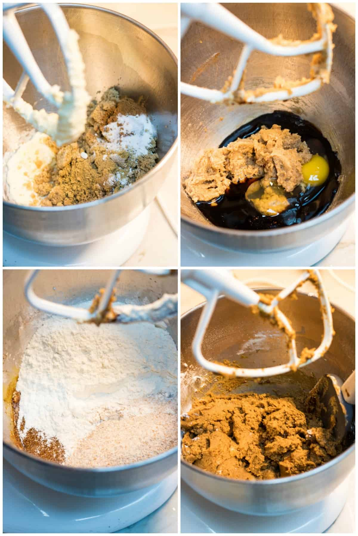 Collage image of ingredients by step in bowl for soft and chewy ginger molasses cookies.