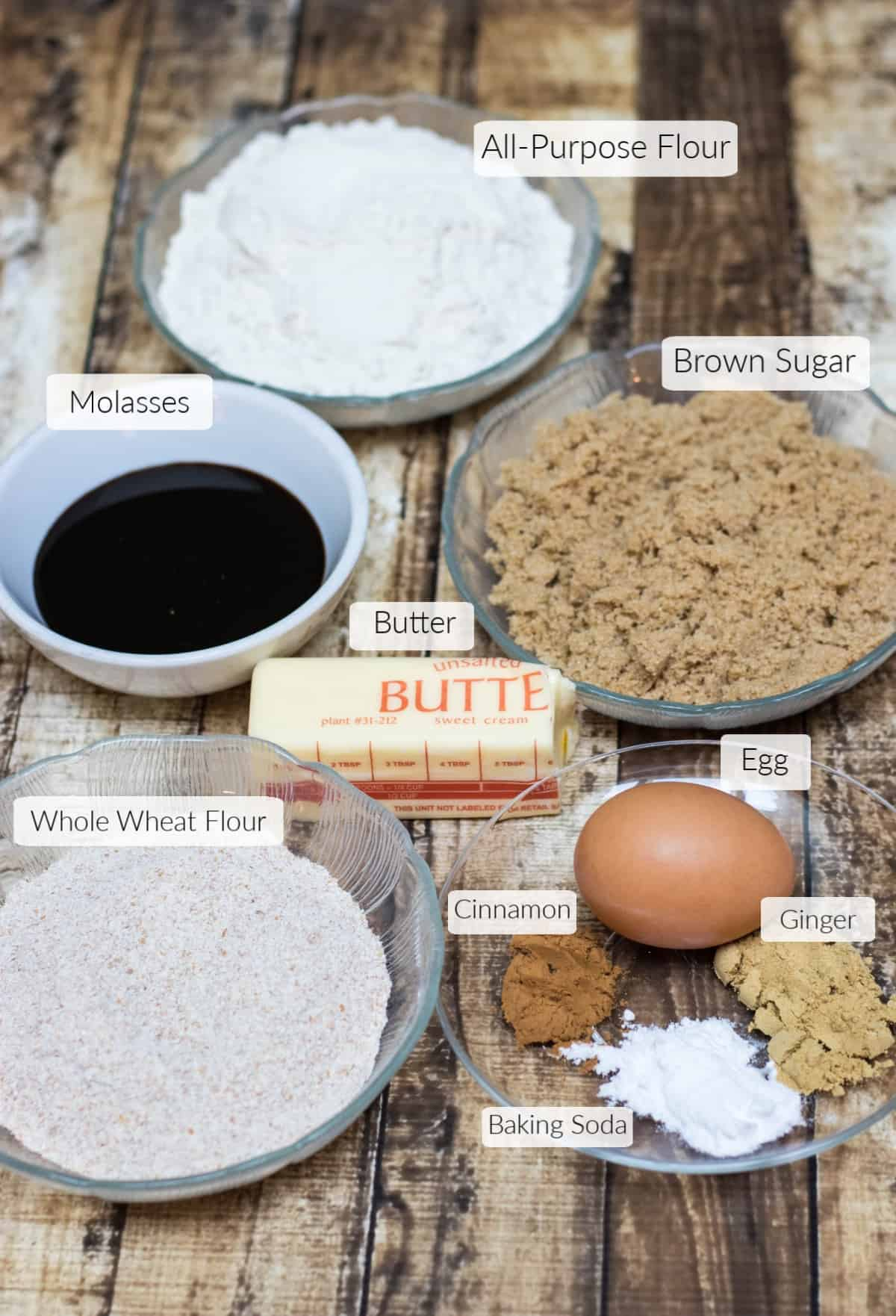 Ingredients in bowls for soft and chewy ginger molasses cookies with text overlays for each item.