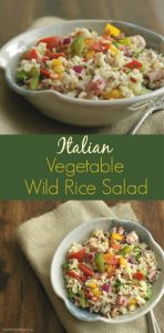 Collage image of Italian vegetable wild rice salad with text bar between images.