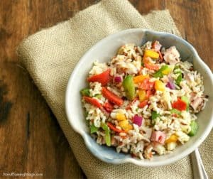 Top view image of Italian Vegetable Wild Rice Salad with ham and pepperoni.