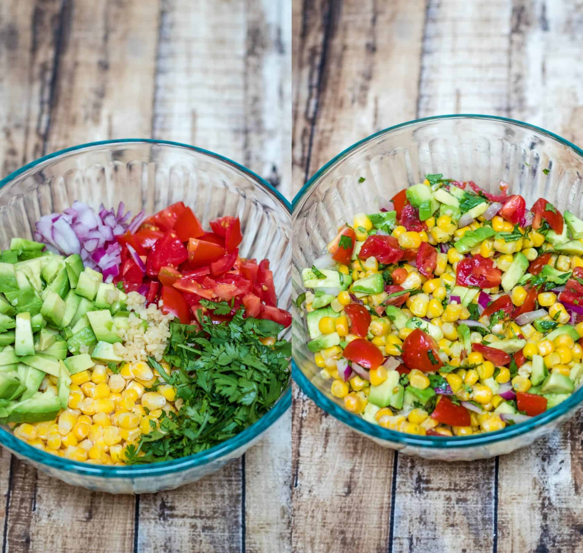 image of corn, avocado and tomato salsa ingredients in bowl