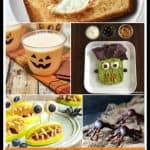 Collage image of healthy Halloween treat recipe ideas with text layer at bottom.
