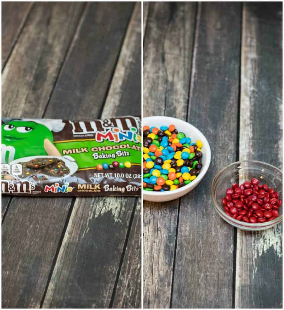 Collage image of mini M&M candies in bag and then divided into bowls with red separated.