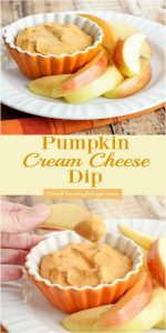 Collage image of pumpkin cream cheese dip with apples with text in between photos.