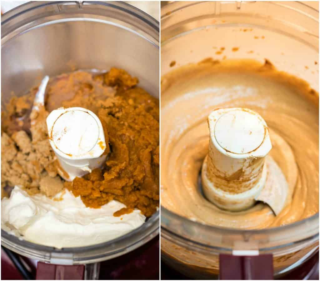 Collage image of pumpkin cream cheese dip ingredients in bowl of food processor and blended in bowl.