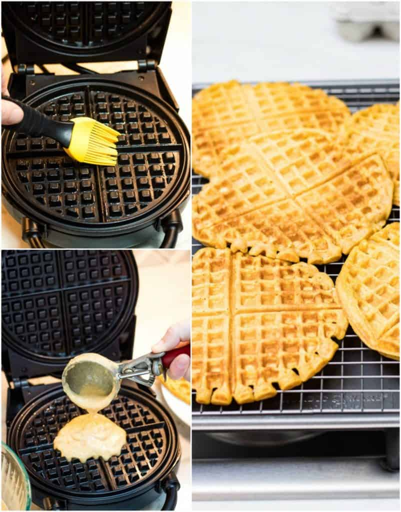 Collage image of black waffle maker oiling and making waffles plus cooked waffles on a baking tray for warming.