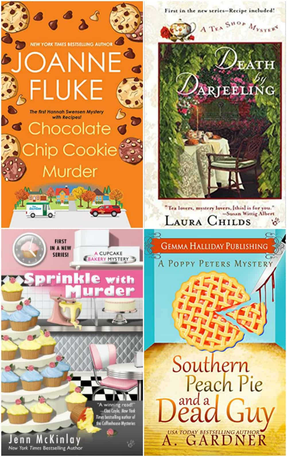 Collage image of four different foodie mystery book covers