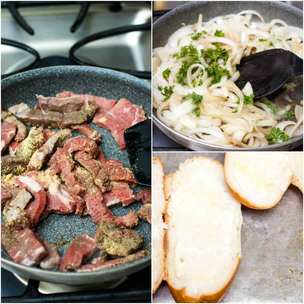 Collage of steak pieces in pan, sliced onions and parsley in pan and buttered hoagie buns.