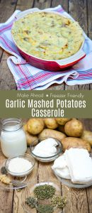 Collage image of Garlic Mashed Potatoes Casserole in baking dish and of ingredients to use with text in between.