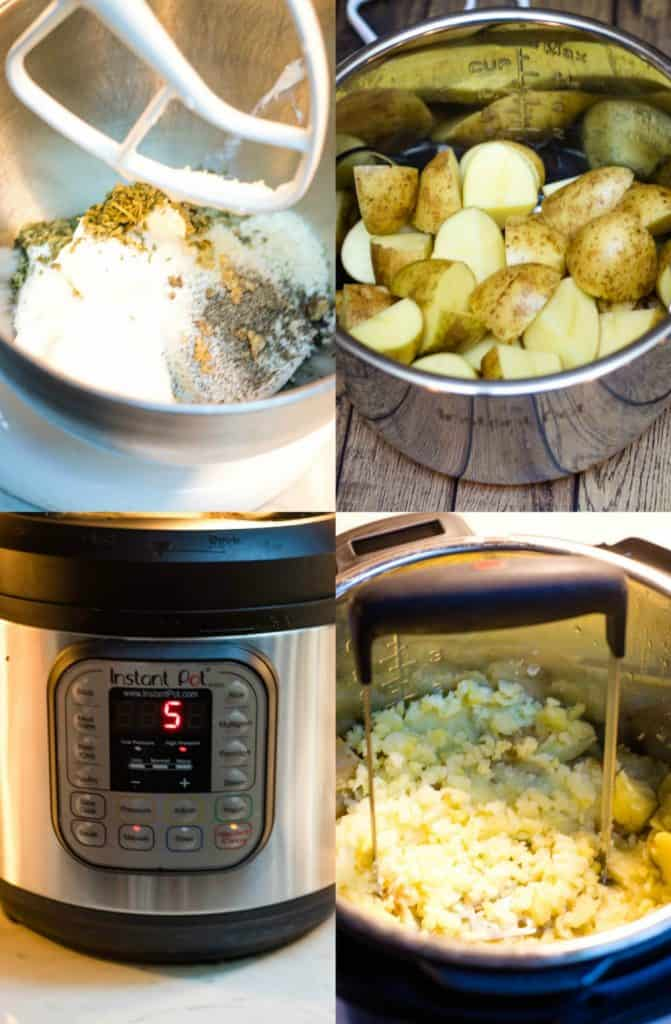 Collage image of garlic mashed potatoes preparation --cream cheese mixture, making potatoes in instant pot and mashing potatoes.