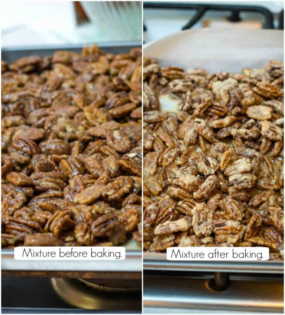 Collage image of Kahlua sugared pecans recipe before baking and at end of baking.