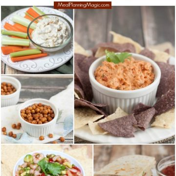 collage image of different dips and snacks with text at top