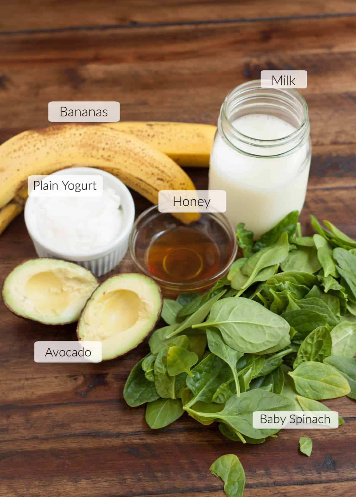 Ingredients for a Banana Spinach Avocado smoothie with labels for each.