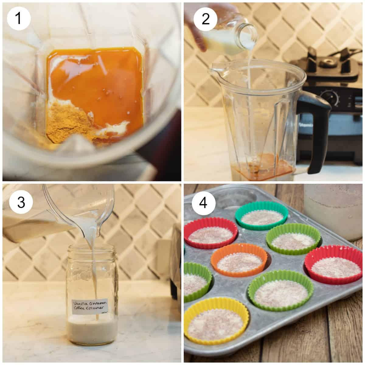 Collage image of each step making Cinnamon Vanilla Creamer in blender and make ahead options.