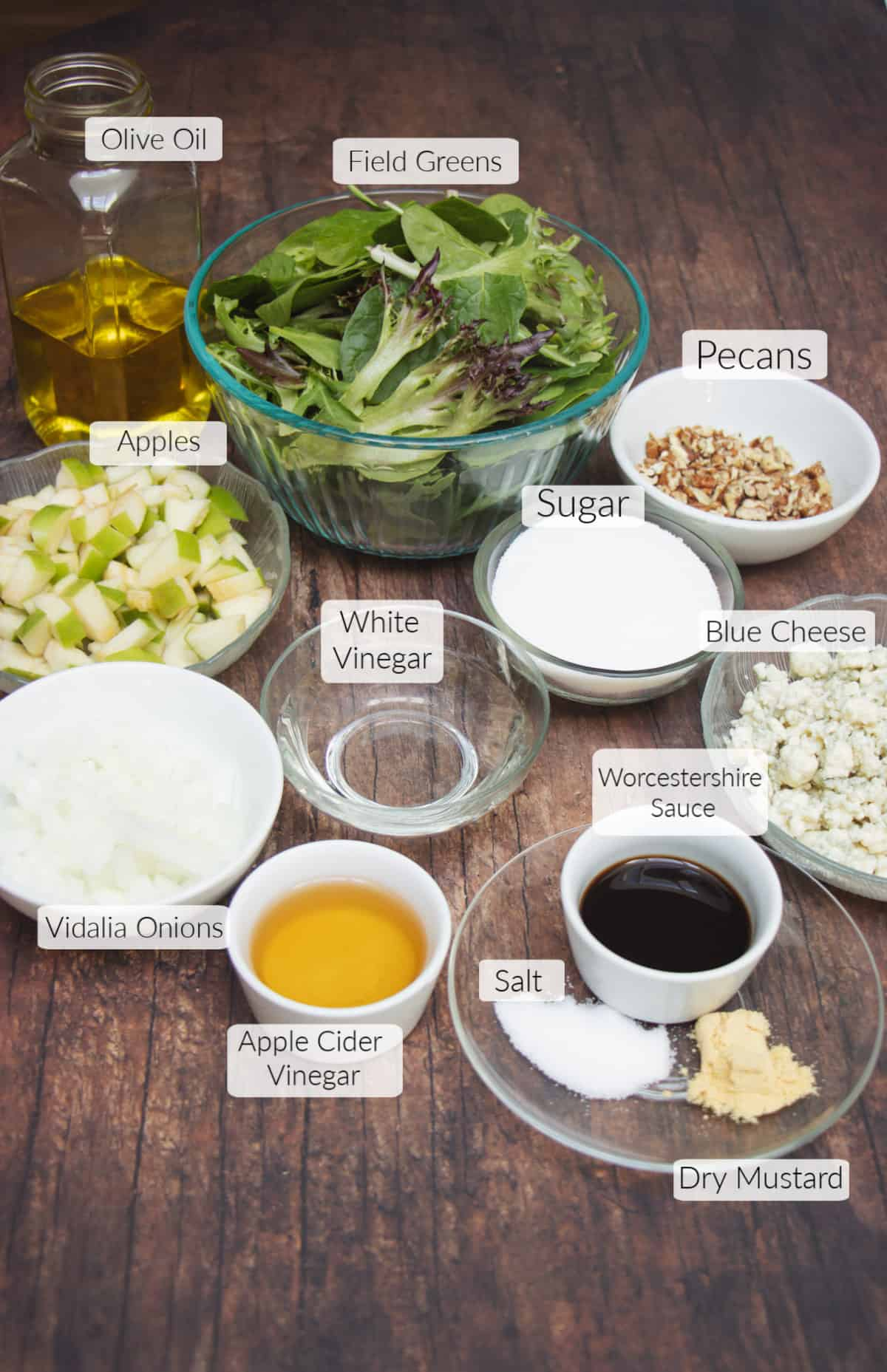 Ingredients in bowls with labels for making Field Greens Salad with Vidalia Onion Dressing, Blue Cheese, Apples and Toasted Pecans