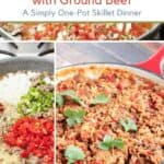 Collage image of Spanish Rice with Ground Beef - process and final photos, with text overlay