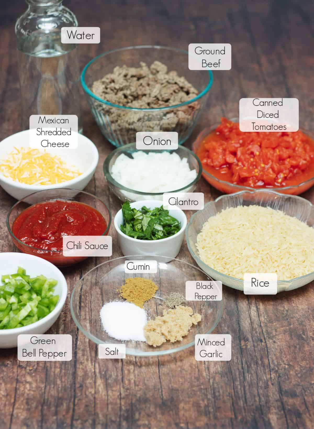 Ingredients in bowls for Spanish Rice with Ground Beef with labels for each.