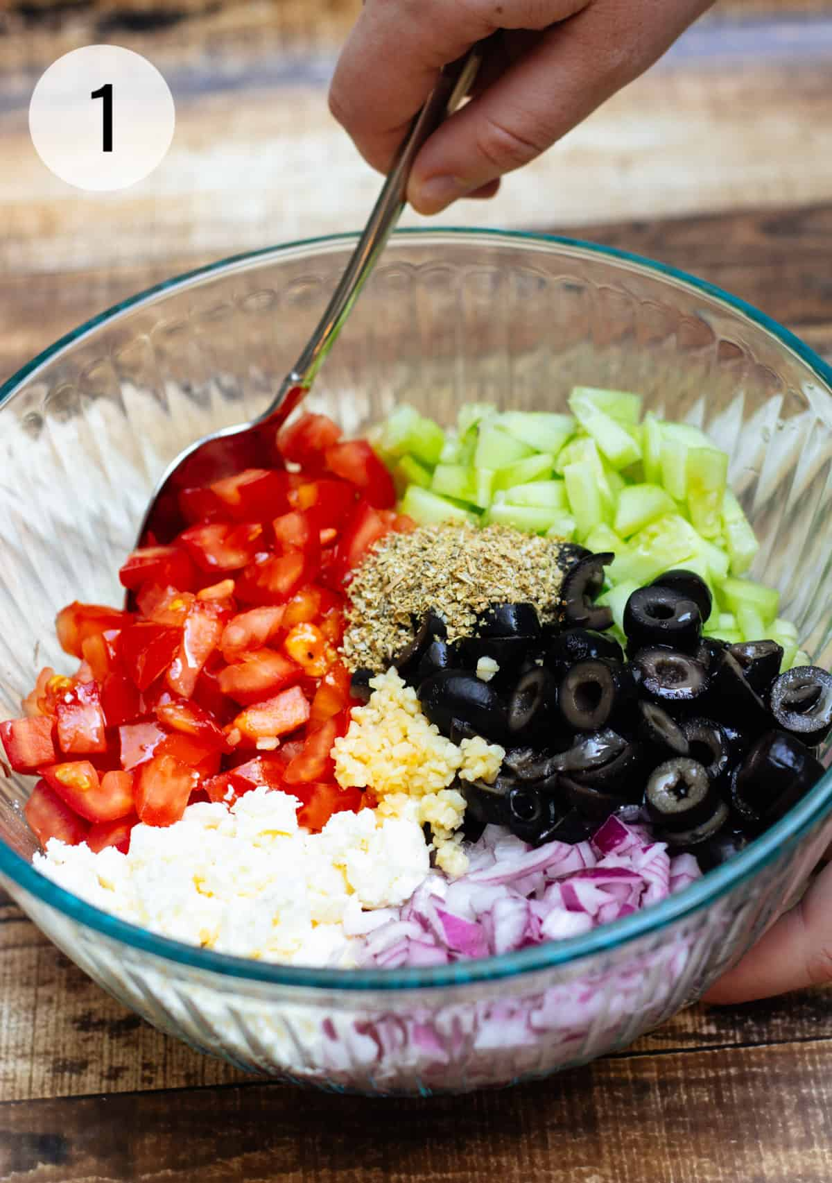 Glass bowl with tomatoes, cucumbers, black olives, purple onion, feta cheese, minced garlic and Greek herbs.