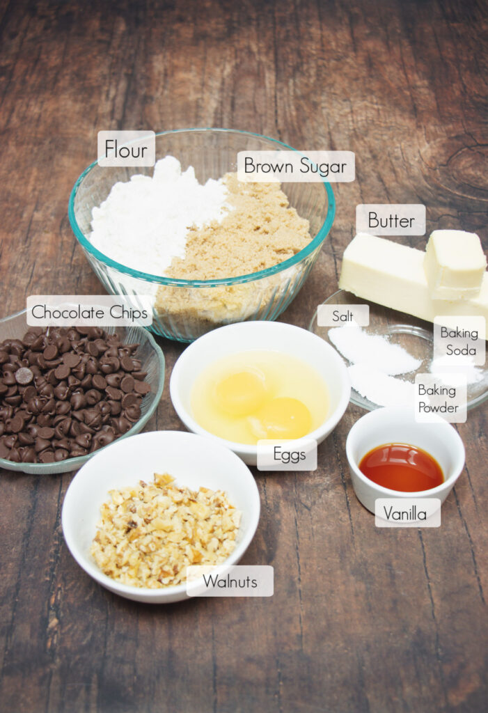 Labeled ingredients in bowls to make blondie bars with chocolate chips.