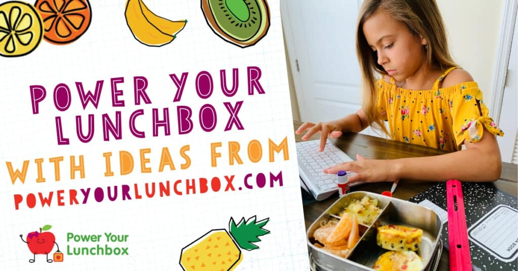 Promotional image for PowerYourLuncbox on left and girl working on computer with lunch on right image.