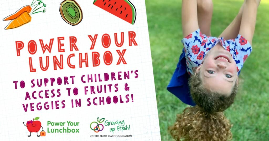 Promotional image with text for PowerYourLunchbox campaign on left and photo of girl hanging upside down on right.