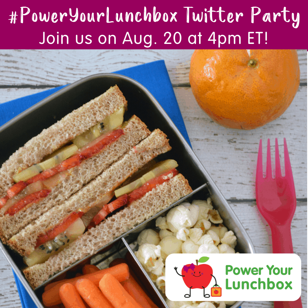 Image with text bar at top and divided lunchbox with sandwich, carrots, popcorn and orange at top