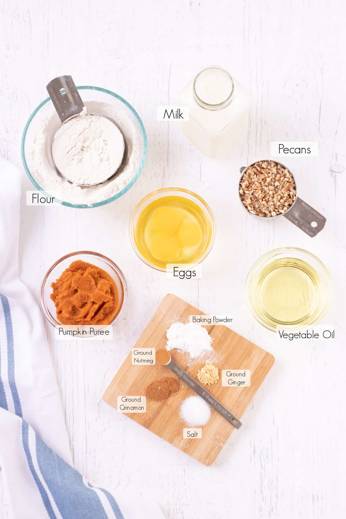 Labeled ingredients to make Healthy Pumpkin Waffles.