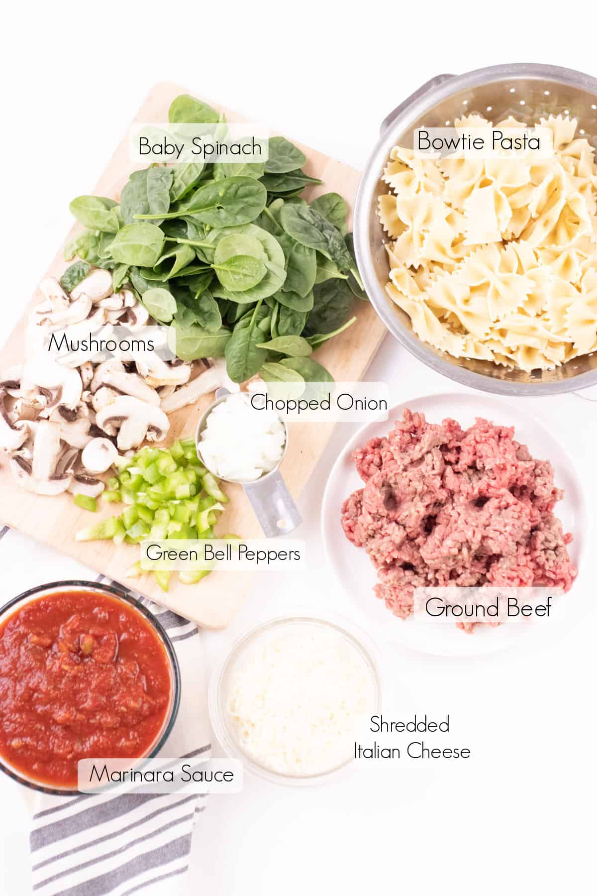 Labeled ingredients to make skillet stovetop lasagna.