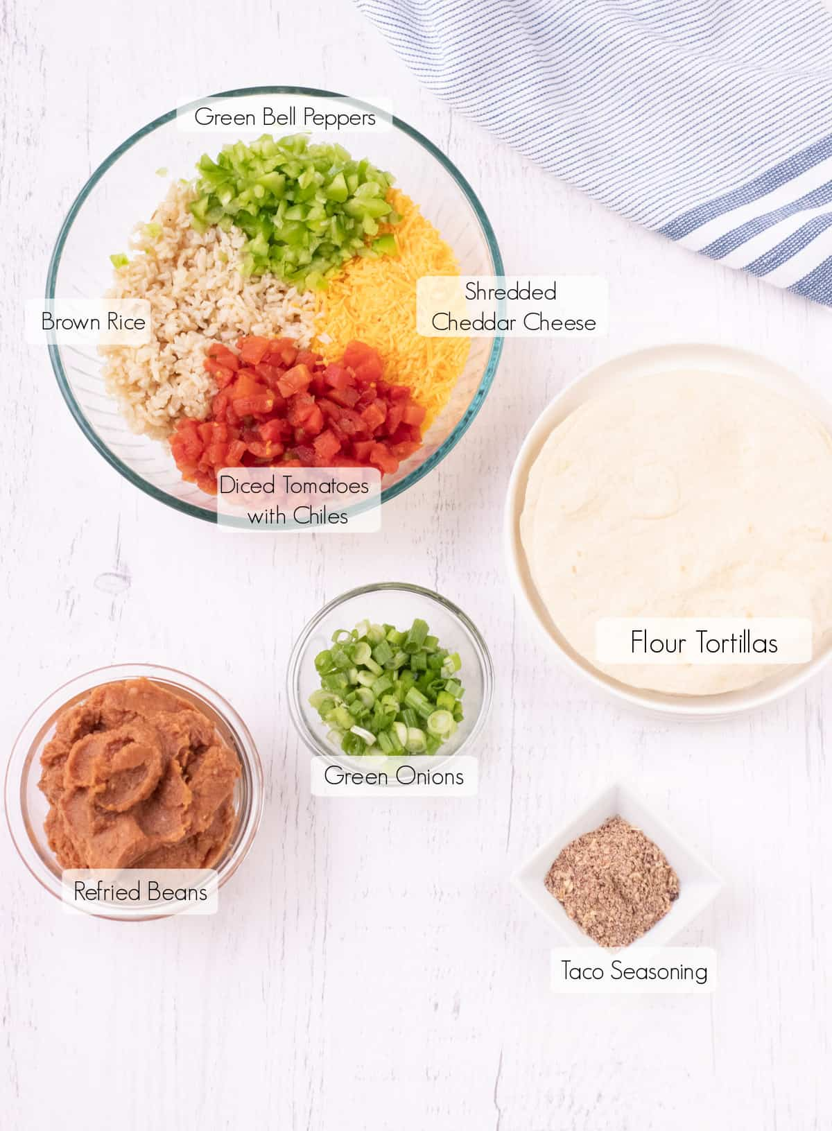 Labeled ingredients for making easy burrito bites.