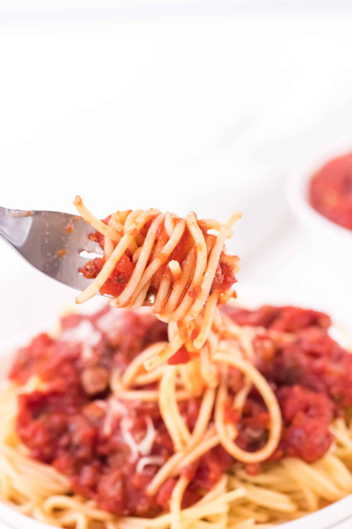 Fork wrapped with spaghetti and meat sauce and bowlful of it below.