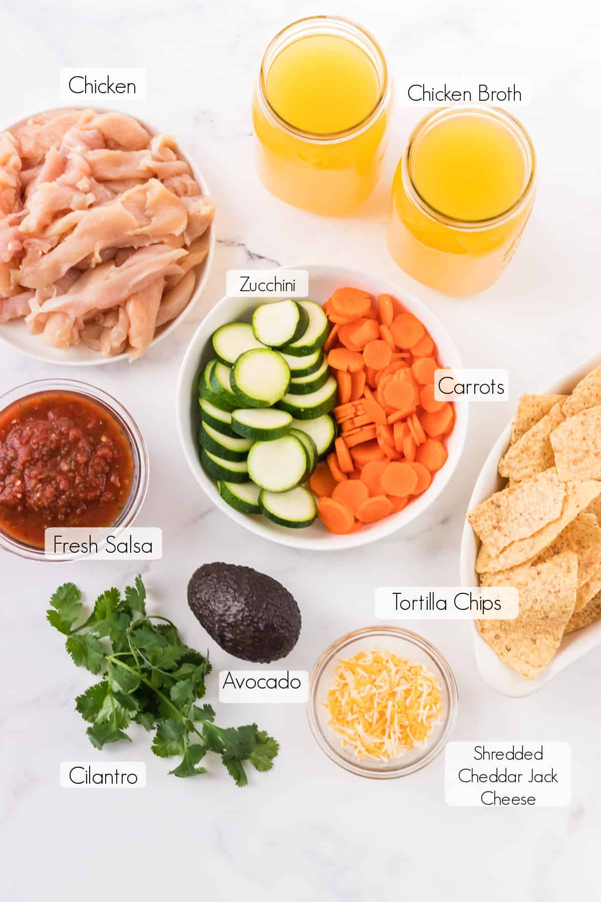 Labeled ingredients for Easy Chicken Tortilla soup recipe.