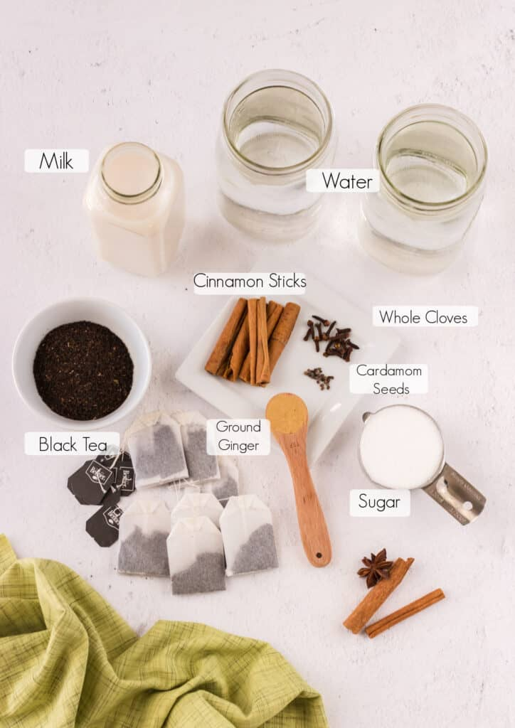 Labeled ingredients to make homemade chai latte.