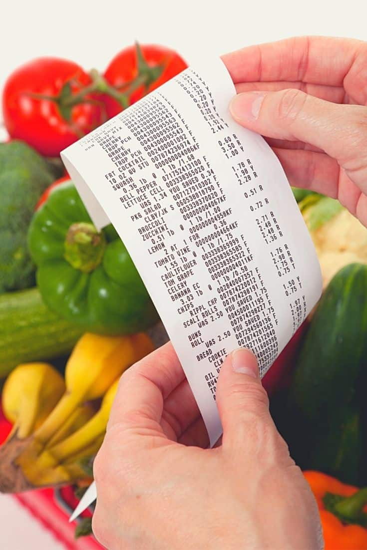 Hands holding a grocery receipt with fruits and vegetables in background.