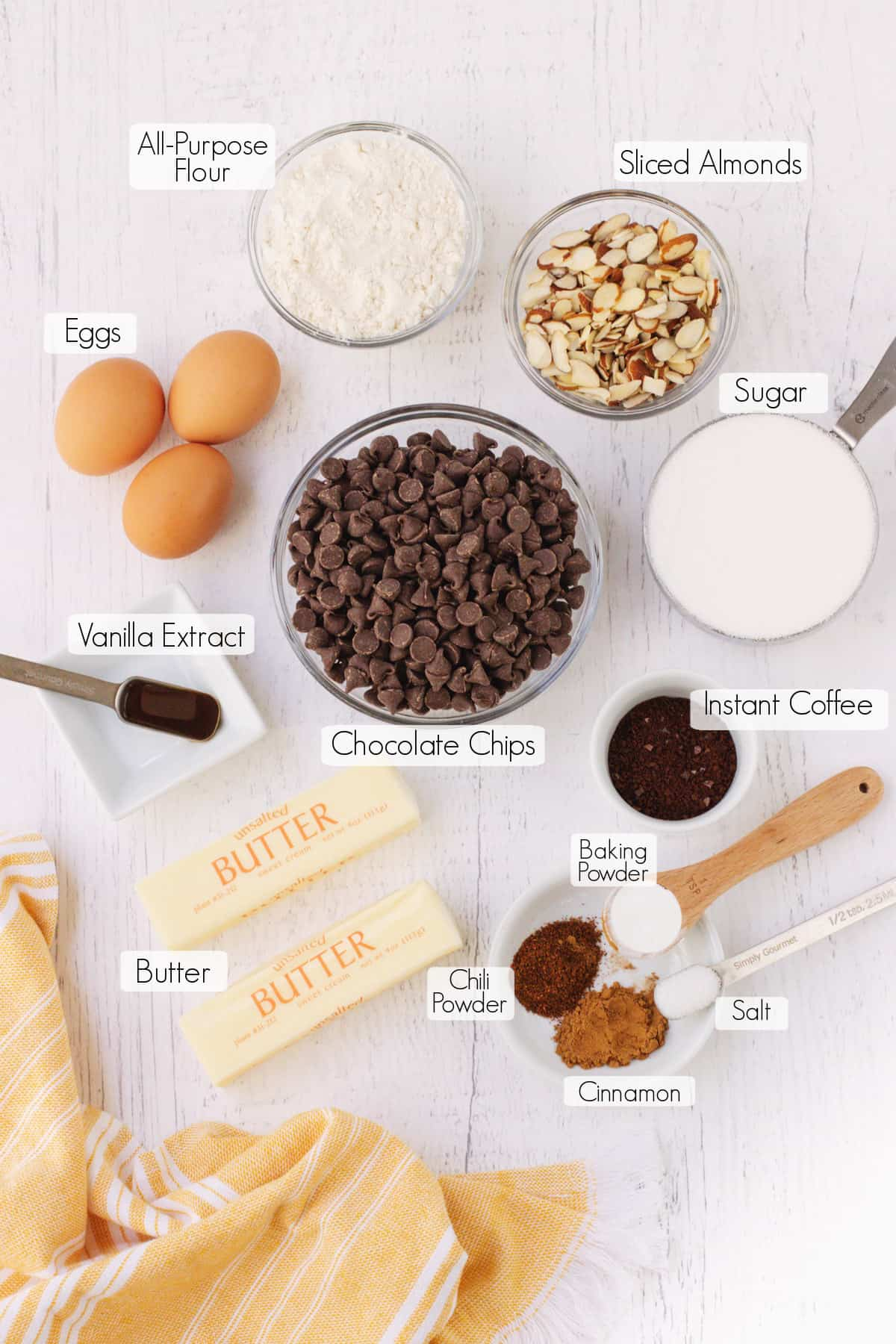 Labeled ingredients to make fudgy Mexican Brownies.