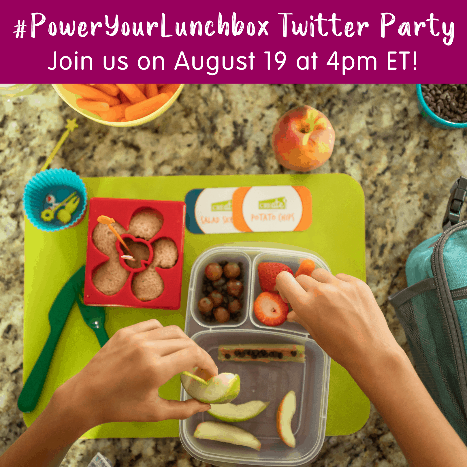 Lunchbox with sandwich cutout, fruits and vegetables with hands assembling and text overlay about Twitter party for ideas about packing kids lunch.