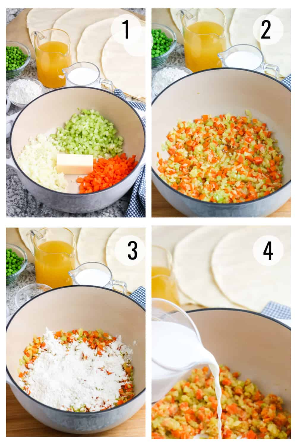 Numbered collage image showing celery, carrots, onions, butter, flour and milk mixed together to make chicken pot pie filling.