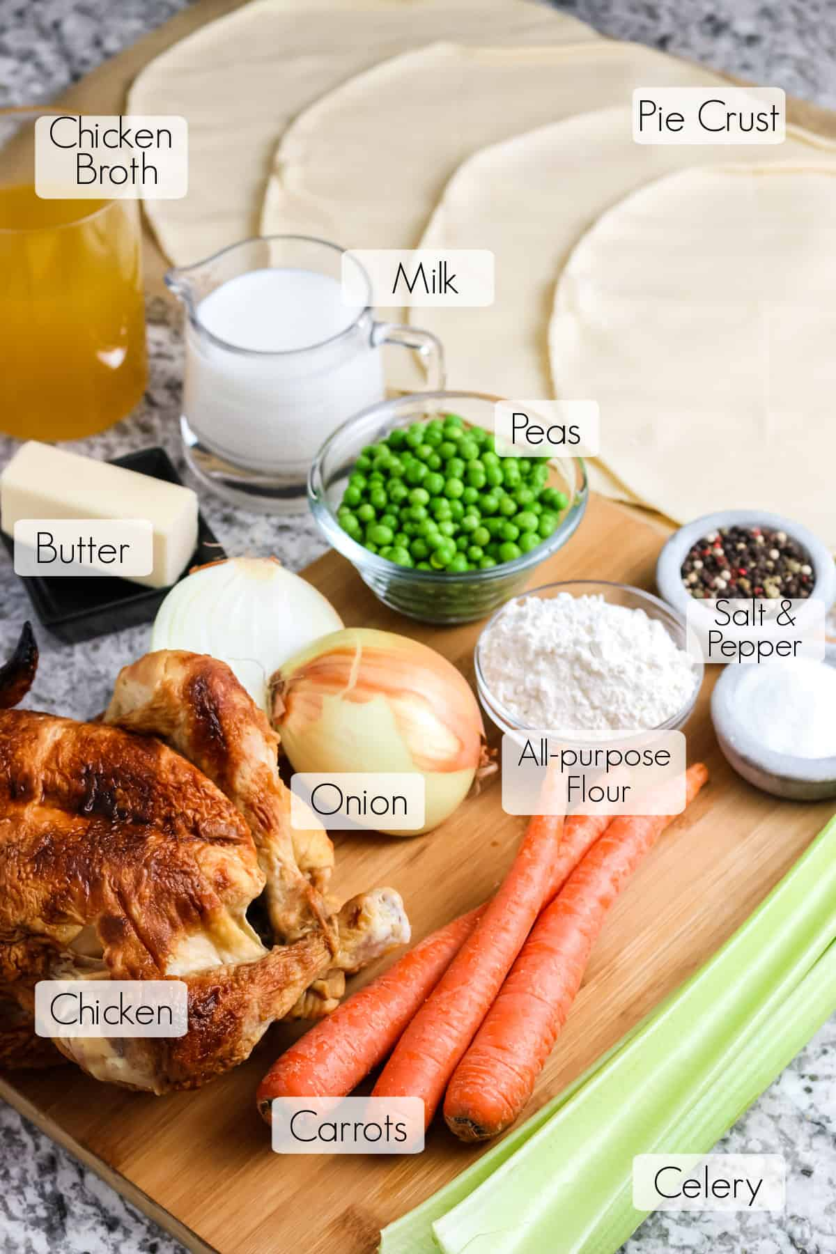 Labeled ingredients needed to make homemade chicken pot pie.