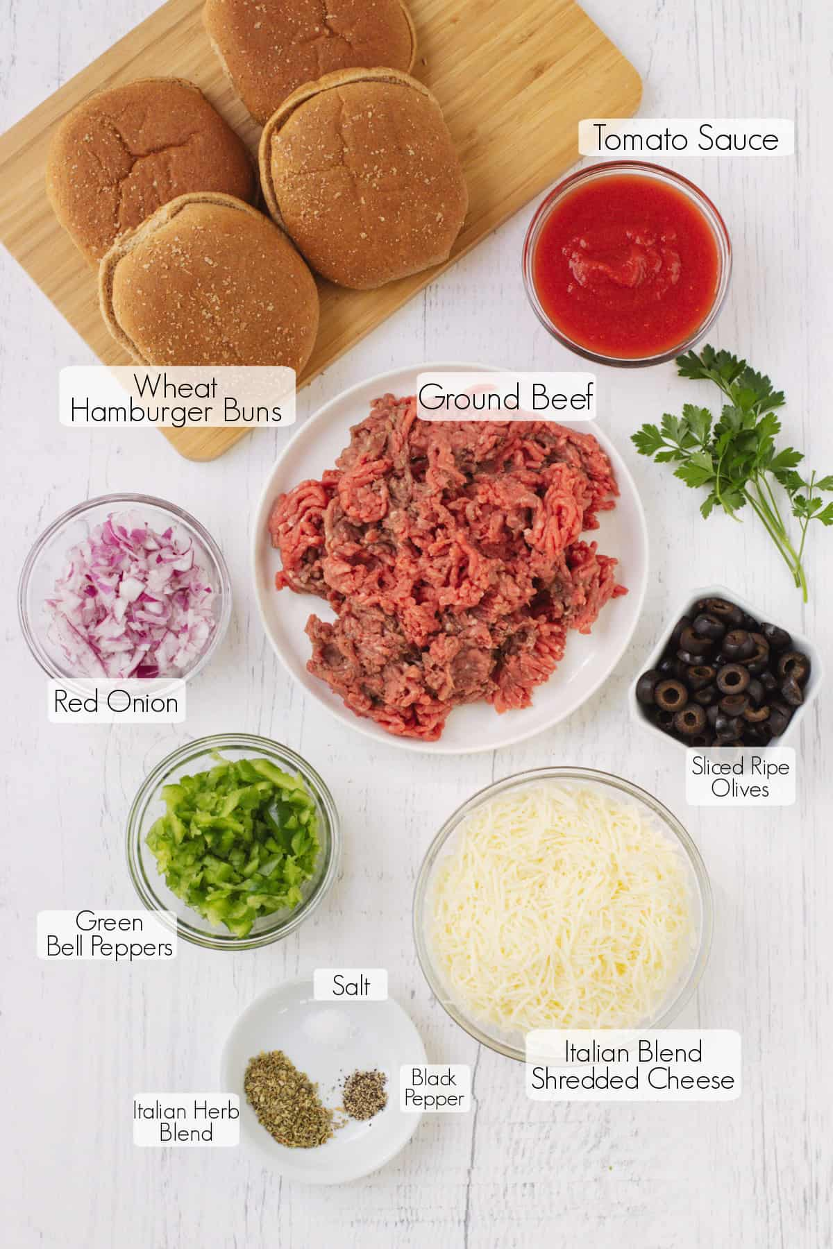 Labeled ingredients to make Italian Sloppy Joes sandwiches.